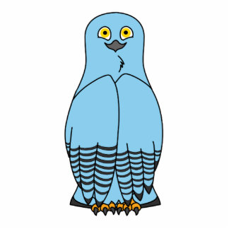 Baby Blue Snow Owl Photo Sculpture Badge