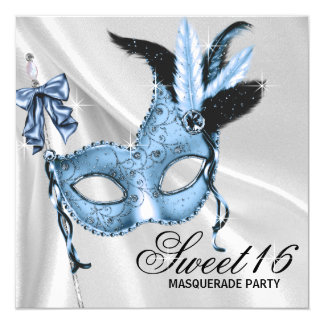 Baby Blue Sweet 16 Masquerade Party Card