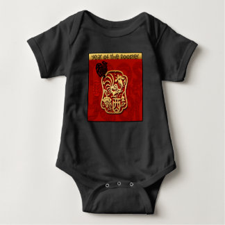 Baby born In Rooster Year 2017 Black bodysuit 2
