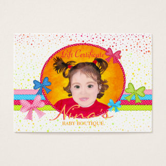Baby Boutique Gift Certificate Business Card