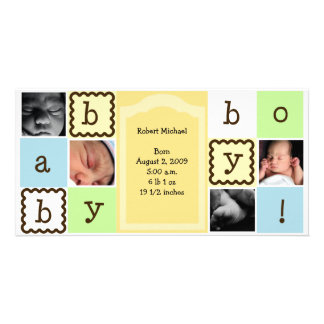 Baby Boy Announcement Personalised Photo Card