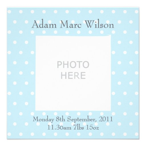 Baby boy announcement personalised photo upload