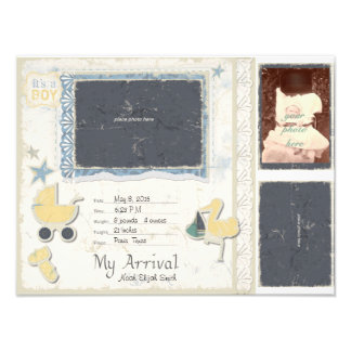 Baby Boy Arrival Scrapbook Title Page Photo Print