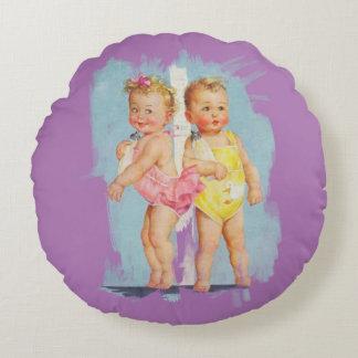 Baby Boy / Baby Girl - Customisable Background Round Cushion