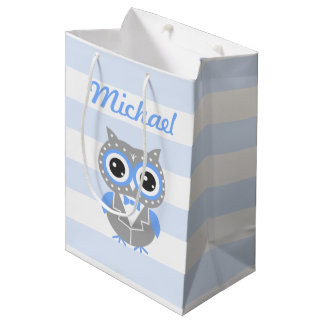 Baby Boy Baby Shower Cute Owl Blue Gift Bag