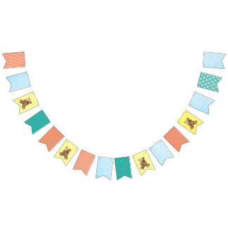 Baby Boy Baby Teddy Bear Party Banner