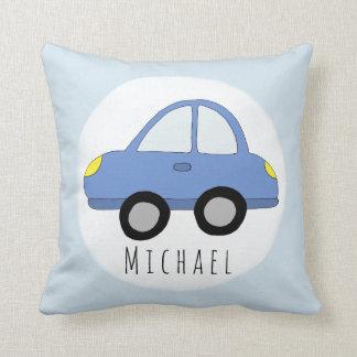 Baby Boy Blue Car Vehicle Name Nursery Cushion