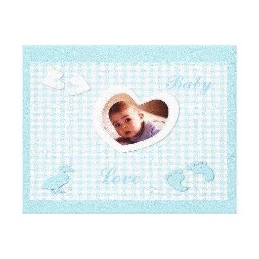 Baby Boy Blue Checks Photo Template Gallery Wrap Canvas