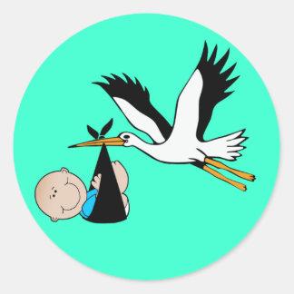 Baby Boy Blue & Stork Round Sticker