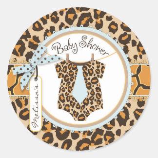 Baby Boy Blue Tie Cheetah Print Baby Shower Label Round Sticker