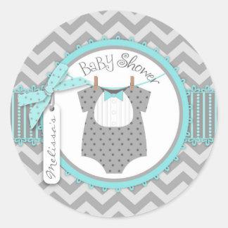 Baby Boy Bow Tie Chevron Print Baby Shower Round Sticker