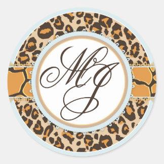 Baby Boy Cheetah Print Monogram Round Sticker