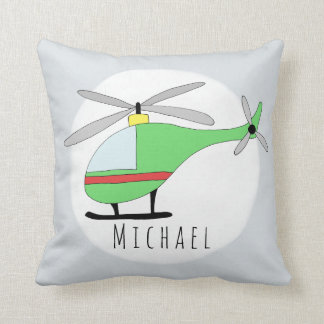 Baby Boy Colorful Helicopter Name Nursery Cushion