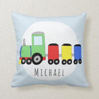 Baby Boy Colorful Locomotive Train Name Nursery Cushion