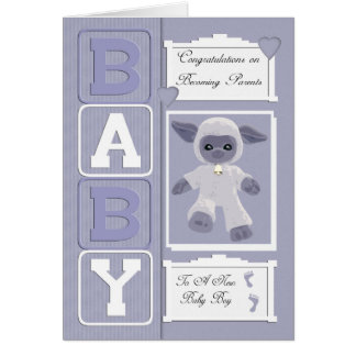 baby boy congratulations with little sheep card