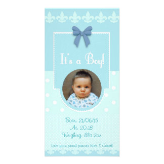 Baby Boy Custom Birth Announcement Card Customised Photo Card