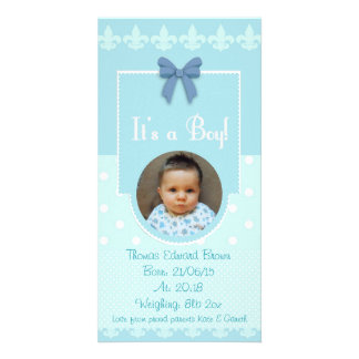Baby Boy Custom Birth Announcement Card Personalized Photo Card
