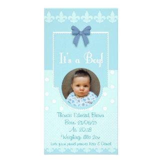 Baby Boy Custom Birth Announcement Card Photo Card Template