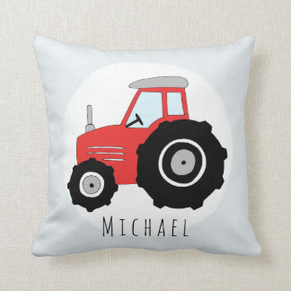 Baby Boy Doodle Red Tractor with Name Nursery Cushion