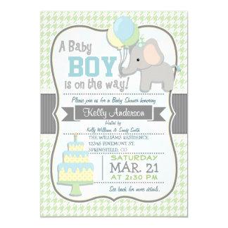 """Baby Boy Elephant, Pastel Baby Shower Invite 5"""" X 7"""" Invitation Card"""