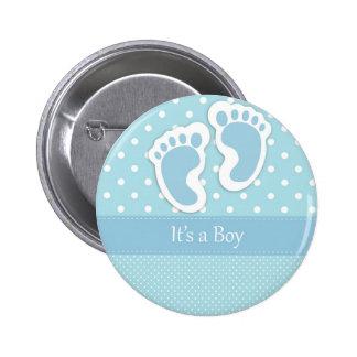 Baby Boy Footprints Adorable 6 Cm Round Badge