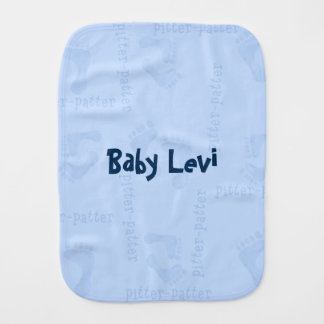 Baby boy footprints pitter patter Burp Cloth