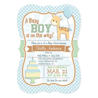 "Baby Boy Giraffe, Pastel Baby Shower Invite 5"" X 7"" Invitation Card"