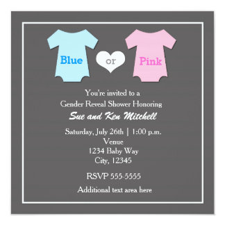 Baby Boy Girl Gender Reveal Shower Invitation