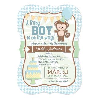 """Baby Boy Monkey, Pastel Baby Shower Invite 5"""" X 7"""" Invitation Card"""