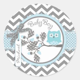 Baby Boy Owl Chevron Print Baby Shower Round Sticker