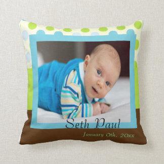 Baby Boy Photo Announcement Throw Pillow