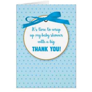 Baby Boy Shower Gift Thank You Blue Digital Ribbon Card