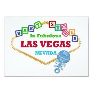 Baby Boy Shower in Las Vegas Card Blue Rattle 13 Cm X 18 Cm Invitation Card