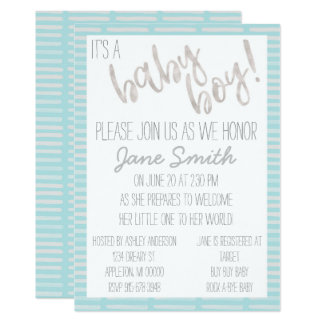 Baby Boy Shower Invitation with Watercolor Accents