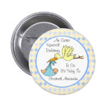 Baby Boy Special Delivery Stork Baby Shower Favour 6 Cm Round Badge
