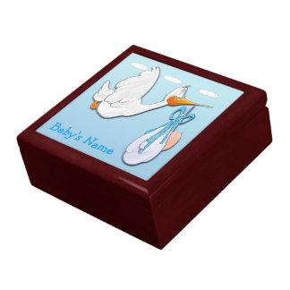 Baby Boy - Stork Gift Box/Trinket Box Large Square Gift Box