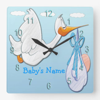 Baby Boy - Stork Square Wall Clock