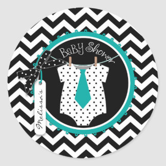 Baby Boy Tie Chevron Print Baby Shower Round Sticker