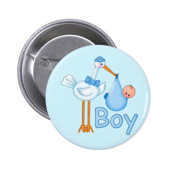 Baby Boy with Stork 6 Cm Round Badge
