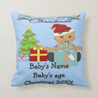 Baby Boy's 1st Christmas Throw Pillow