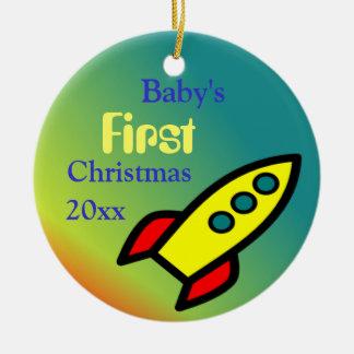 Baby Boy's Rocket Ship Christmas Ornament
