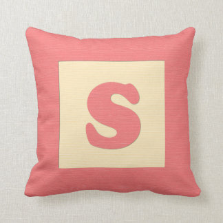Baby building block throw pIllow letter S (red)