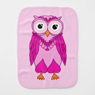 Baby Burp Cloth: Pink Owl Baby Burp Cloth