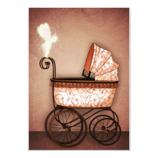 Baby Carriage 13 Cm X 18 Cm Invitation Card