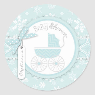 Baby Carriage & Winter Snowflake Print Baby Shower Round Sticker