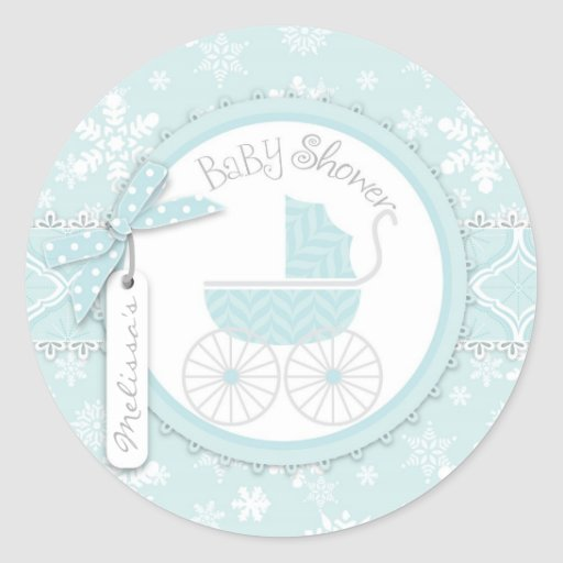 Baby Carriage & Winter Snowflake Print Baby Shower Sticker