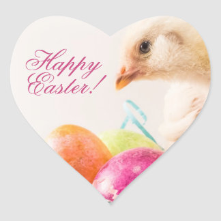Baby Chick in Easter Basket Heart Sticker
