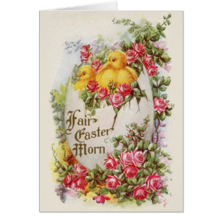 Baby Chicks and Roses Victorian Easter Card
