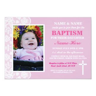 Baby Christening Baptism Pink Girl Photo Invite