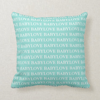 BABY & CO Teal Blue Baby Love Baby Throw Pillow